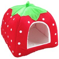 Cat Bed Dog Bed Foldable Soft Winter Leopard Strawberry Cave Dog House Cute Dog Kennel Nest Fleece Cat House