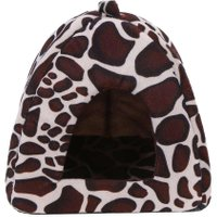 Foldable Dog House Winter Warm Leopard Print Strawberry Cave Dog Bed Pet Dog House Cute Kennel Nest for Animal Cat Tent